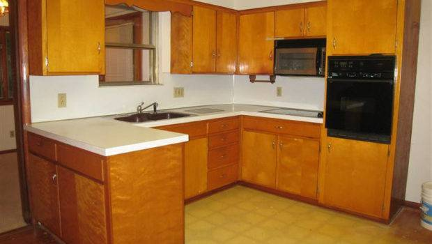 Kitchen Wooden Counters White Countertop Vintage Cabinets