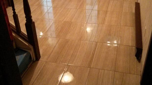 Large Format Porcelain Tile Floor Basement Good