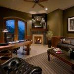 Large Luxury Home Office Den Fireplace Wood Desk