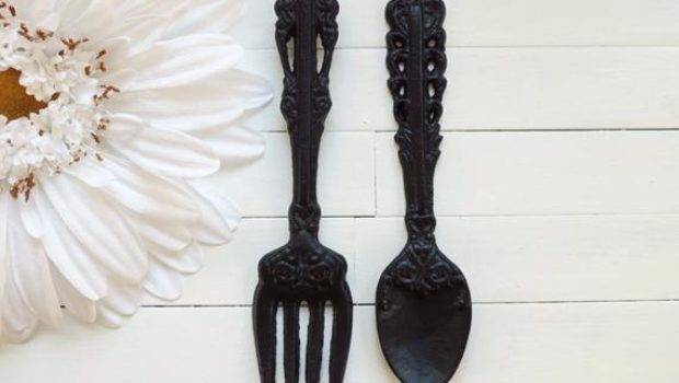 Large Metal Fork Spoon Set Kitchen Decor