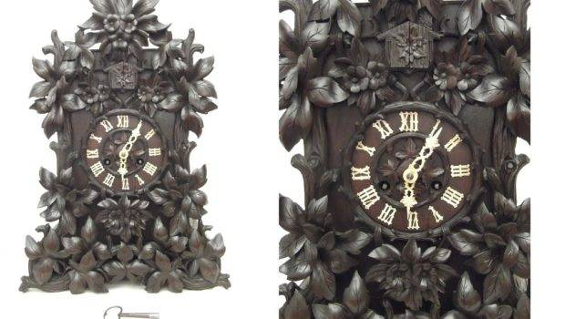 Large Unusual Floral Carved Theodore Ketterer Cuckoo Clock Home
