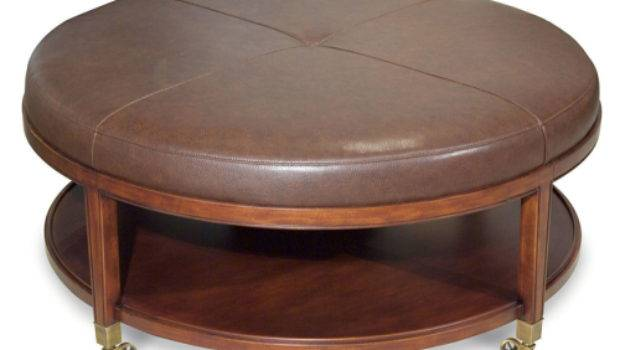 Leather Ottoman Coffee Table Rectangle Round