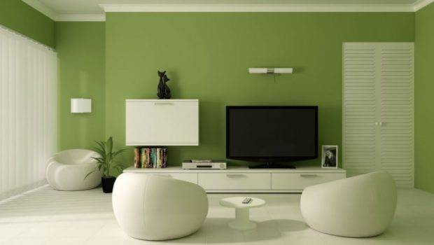 Living Room Relaxing Green Wall Paint Color White Funiture