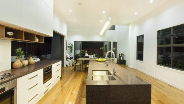 Long Kitchen Layout Design White Wood Cabinets