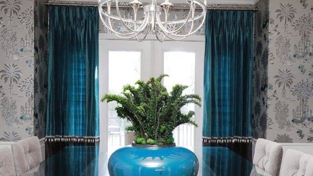 Lovely Brown Blue Dining Room Curtains White Wood