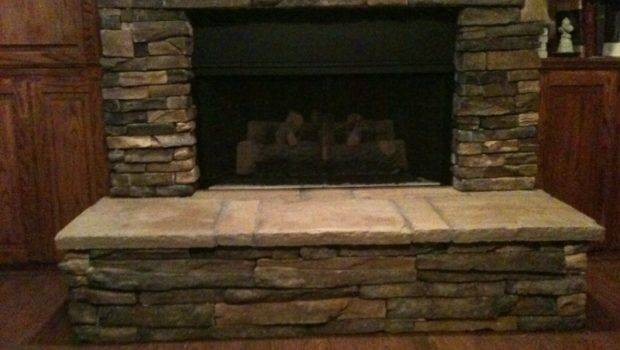 Manufactured Stone Veneered Over Existing Brick Fireplace