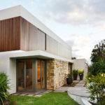 Minimalist Style Home Wood Glass Stone Exterior Design