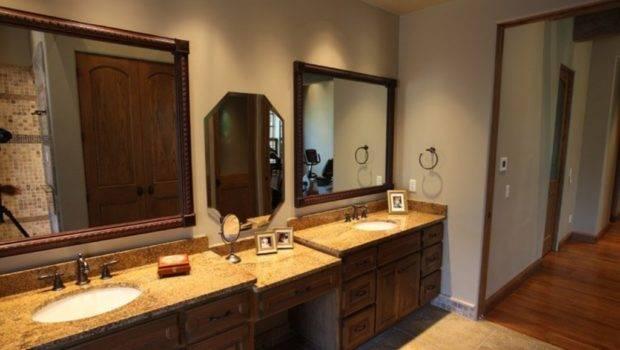 Mirrors Elegant Brown Granite Countertops Traditional Bathroom