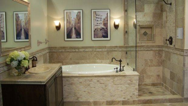 Mixture Travertine Tiles Gives Bathroom Earthy Natural
