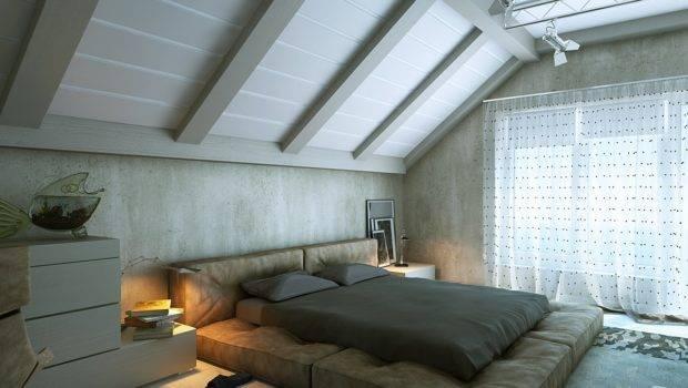 Modern Attic Room Platform Bed Interior Design Ideas
