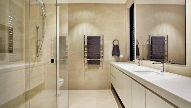 Modern Bathroom Design Twin Basins Using Glass