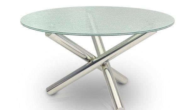 Modern Dining Modrest Frau Round Cracked Glass Table