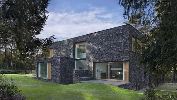 Modern Forest House Finished Stone Bosvilla Soest Zecc