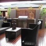 Modern Garden Ideas Black Chair Sleek Planters Combined