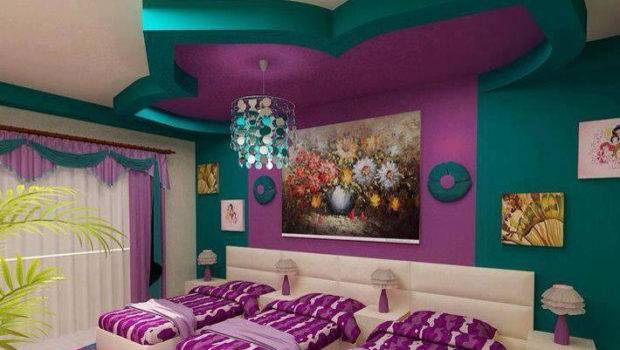 Modern Girls Bedroom Design Three Small Beds Gypsum Ceiling