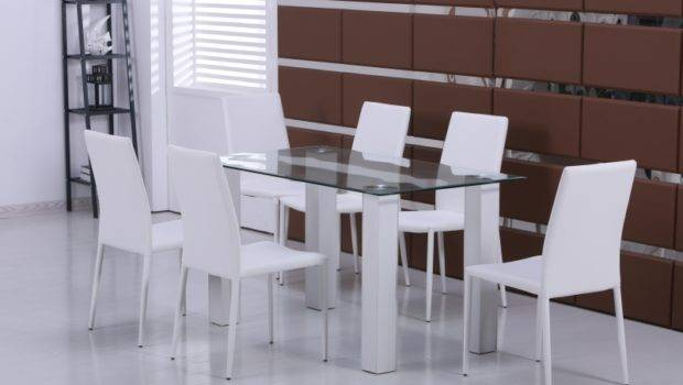 Modern New Glass Dining Table White Faux Leather