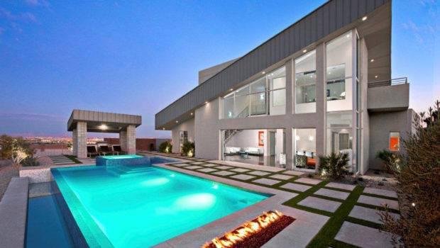 Modern Pool Landscape Design Post Sculptural Gem Boasts
