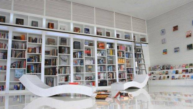 Modern Small Home Library Shaped White Glaze Wooden