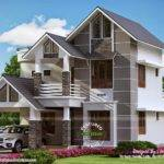 Modern Sober Coloured Sloping Roof House Kerala Home