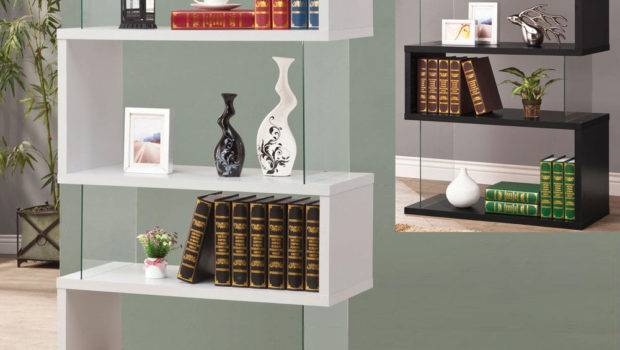 Modern White Black Long Floating Shelf Bookcase