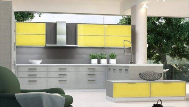 Modern Yellow Grey Kitchen Ideas