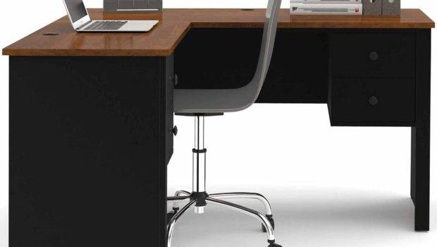 Monarch Cappuccino Hollow Core Shaped Home Office Desk