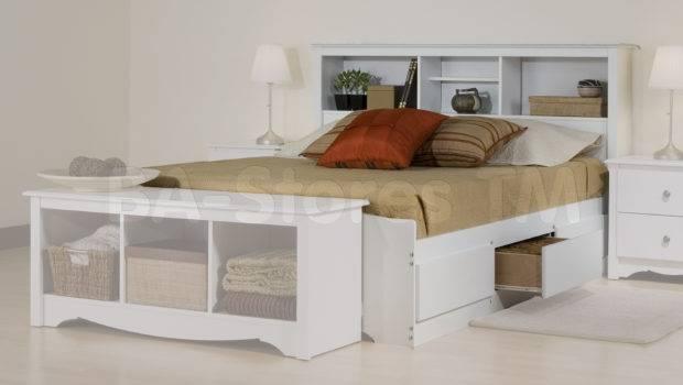 Monterey Platform Storage Bed Bookcase Headboard White Beds