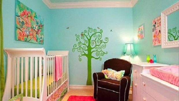 Name Floral Pink Aqua Nursery Baby Girls Themes
