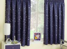 Navy Blue Stars Thermal Blockout Tape Top Curtains