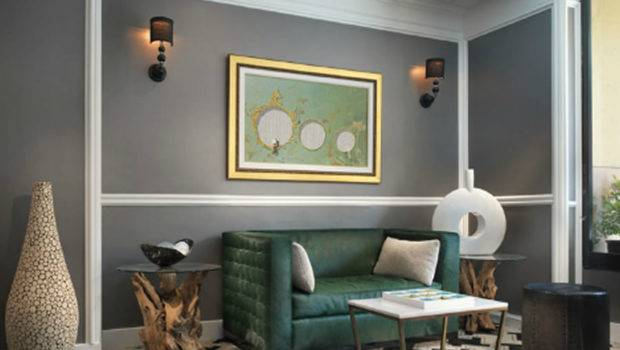 New House Classic Contemporary Interior Design Green Divan Grey Wall