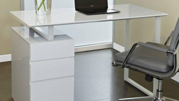 Nice White Glass Desk Decorating All