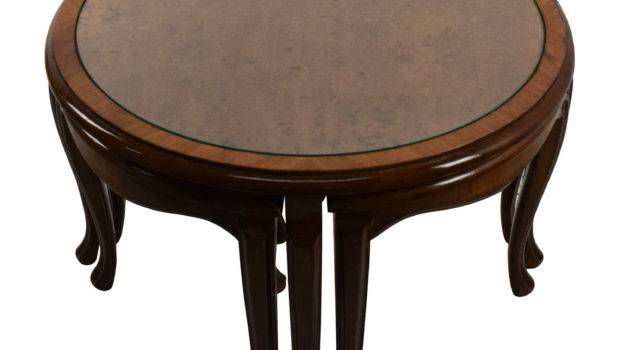 Off Round Glass Top Coffee Table Nesting Stools