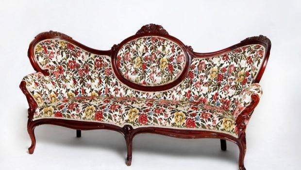 Old Fashioned Floral Couch Vintage Victorian Rainbow