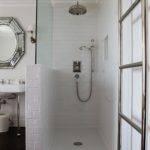 Open Walk Shower Subway Tiles Glass Partition Towel