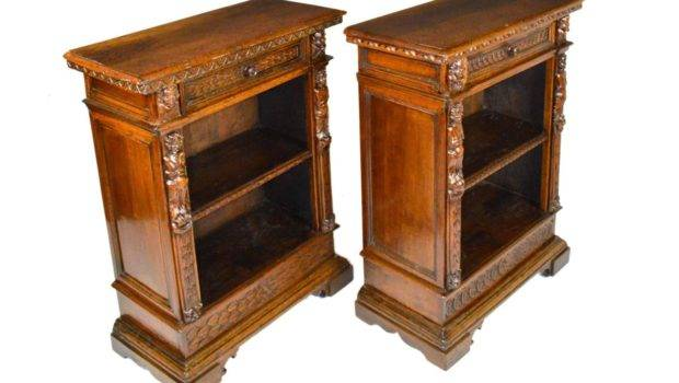 Pair Carved Italian Walnut Baroque Bookcases Sale Stdibs