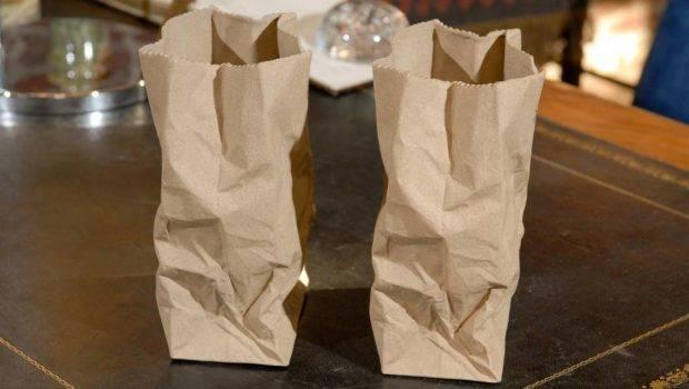 Pair Ceramic Paper Bag Vases Stdibs