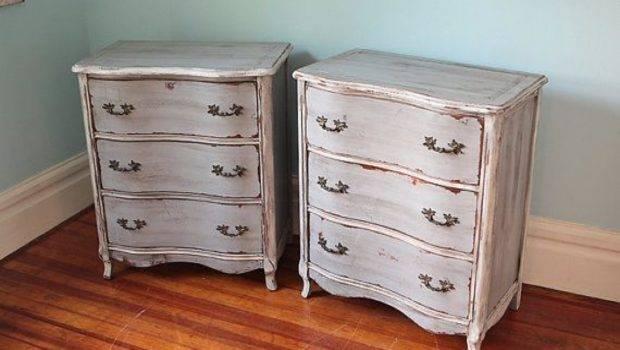 Pair French Small Dresser Nightstand Shabby Chic Grey