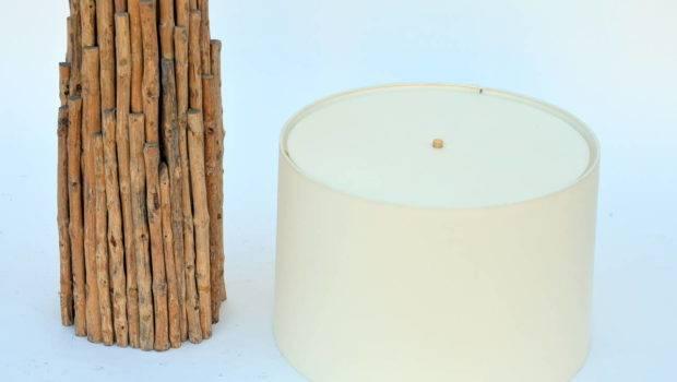 Pair Impressive Tall Twig Table Floor Lamps Custom Drum
