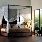 Paired Decorative Table Lamps Also White Bed Canopy Curtain Idea