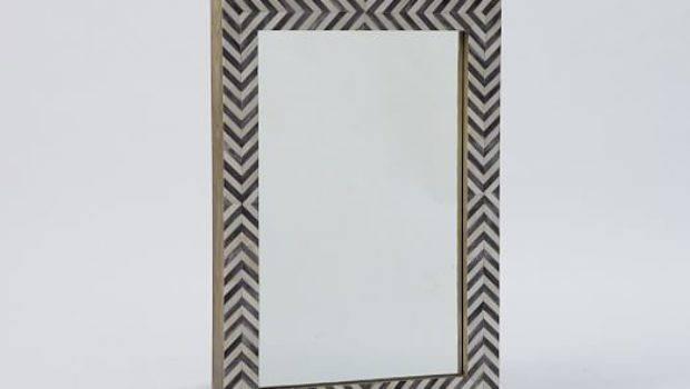 Parsons Wall Mirror Gray Herringbone West Elm
