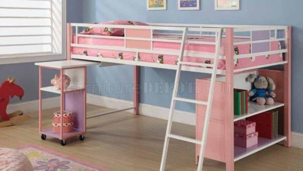 Pink Finish Modern Kids Twin Loft Bed Storage Shelves