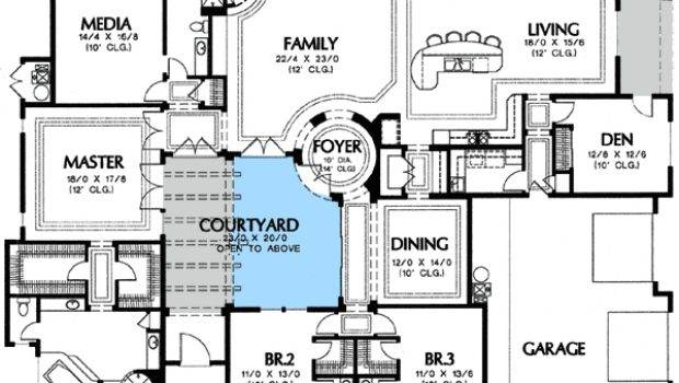 Plan Center Courtyard Views Architectural Design