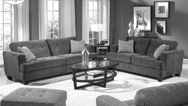 Plush Grey Themes Living Room Design Velvet Sofa