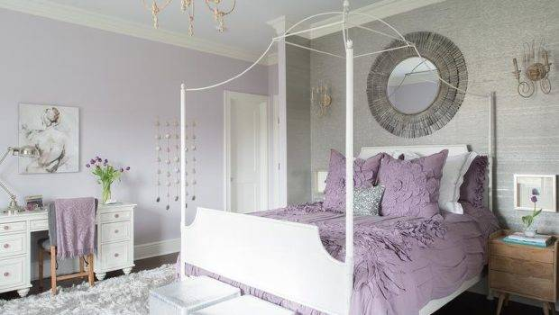 Purple Gray Teen Girl Bedroom White Canopy Bed Contemporary