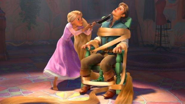Rapunzel Holding Flynn Captive Chair Her Hair