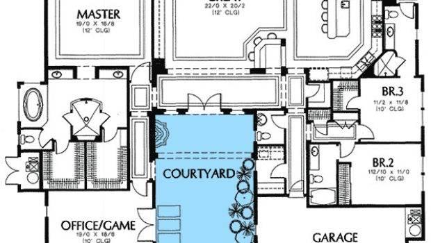 Rear Courtyard House Plans Plan Mediterranean