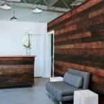 Reception Reclaimed Wood Feature Wall Desk Detail Barrefitness
