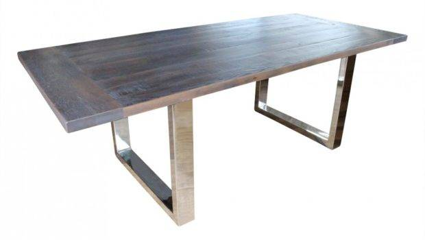 Recycled Timber Dining Table Stainless Steel Legs Sales