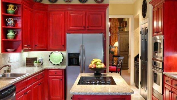 Red Kitchen Cabinet Doors White Marble Granite