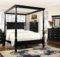 Regis Canopy Bed Distressed Black Finish Bedroom Furniture Set